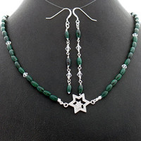 Star of David Malachite Crystal Necklace Earrings Set