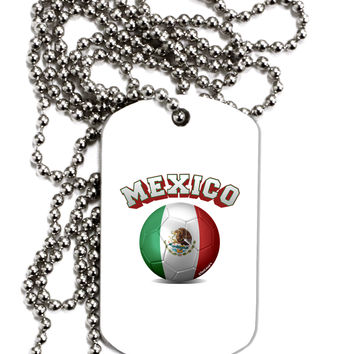 Soccer Ball Flag - Mexico Adult Dog Tag Chain Necklace