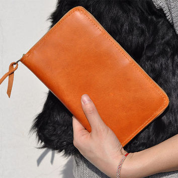 A6 Leather Journal Diary Notebook with zipper /loose-leaf notebook/ notepad/passport wallet/bright orange leather