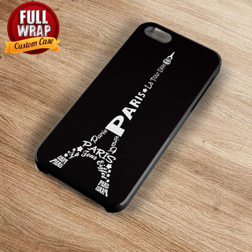 Eiffel Tower Words Art Full Wrap Phone Case For iPhone, iPod, Samsung, Sony, HTC, Nexus, LG, and Blackberry