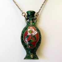 Chinese Green Cloisonne Pendant Flower Vase Necklace Silver Plate Chain Vintage 1970's Boho