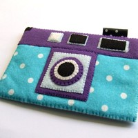Purple Summer  Blue Polka Dots Camera iPhone Felt Case. Retro style. Gift for her.