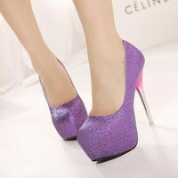 Girl's Gradient High Heels Stilettos Court Pump Shoes Platform Shiny Club Sexy