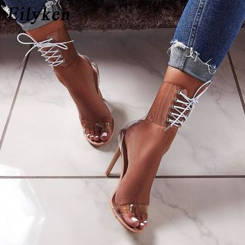 ef7c88d53c6336 Eilyken 2019 PVC Jelly Lace-Up Sandals Open Toed High Heels Sexy
