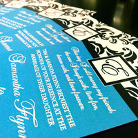 Aqua Damask Wedding Invitation Extra Heavy Shimmer Card stock - Beautiful