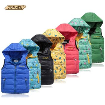 Kids Vest Winter Children Outerwear&Coats Kids Clothes Hooded Down Jacket Coat Child Waistcoat Children Clothing Warm Baby Vests