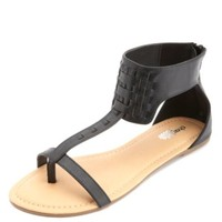 T-Strap Ankle Cuff Thong Sandals