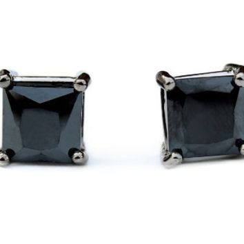 Lil Wayne Black Stud Onyx CZ Square Earrings Black Rhodium, 9 mm
