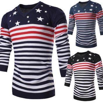 Mens Stars and Stripes Pullover Sweater