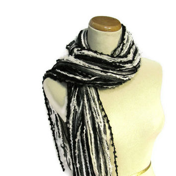 On Sale Grey, White and Black Fringe Scarf
