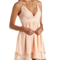 Strappy Layered Chiffon Dress by Charlotte Russe - Peach