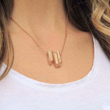SHOP SALE - 24k Rose Gold Crystal Point Necklace