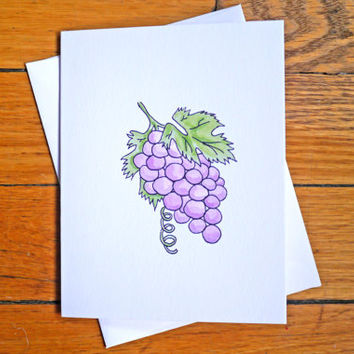 Cute Thank You Card - Grapes - Thanks a Bunch - Pun - Witty Card