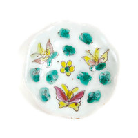 Antique Chinese Porcelain Footed Dish Asian Pottery Enamel Hand Painted Butterflies Floral Red Chinese Markings