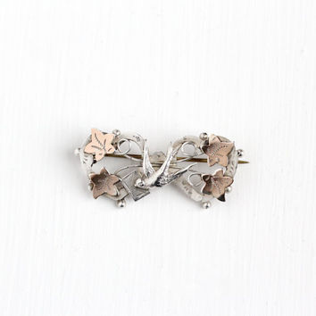 Antique Sterling Silver & Rose Gold Wash Swallow Love Note Heart Pin - Vintage Victorian 1890s Bird in Flight Ivy Leaf Envelope Jewelry