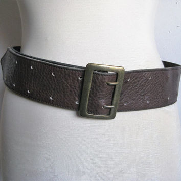 Vintage 1980s Leather Belt ROOTS Dark Brown Wide Crackle Leather Belt Ceinture en Cuir Med-Lrg