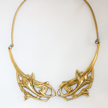 Art Nouveau Necklace, Gold Wash Cala Lily Collar, Vintage Nouveau,  1930s Jewelry