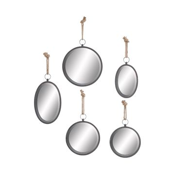 Set of 5 Round Rustic Porthole Wall Mirrors