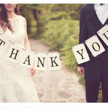 "Handmade Wedding Banner ""THANK YOU"" Party Decorations Chic Banners = 1932744324"