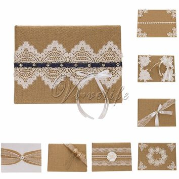 Vintage Burlap Wedding Guest Book With Lace Ribbons Flowers Pearls