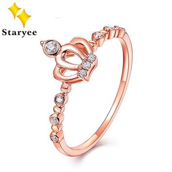 STARYEE Genuine 18K Pure Rose Gold Princess Crown Engagement Rings 0.14CT VS H Natural Diamond Wedding Jewelry For Women Bridal