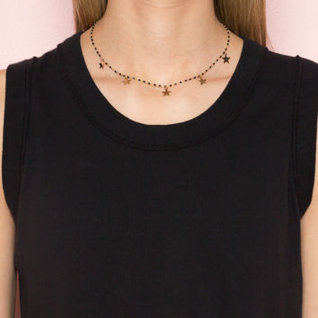 Black and Gold Star Charm Necklace - Accessories