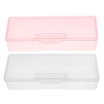 1PC Plastic Nail Supplies Tools Storage Box Rectangle Nail Art Studs Brushes Tools Holder Case Pink White Transparent GUB#