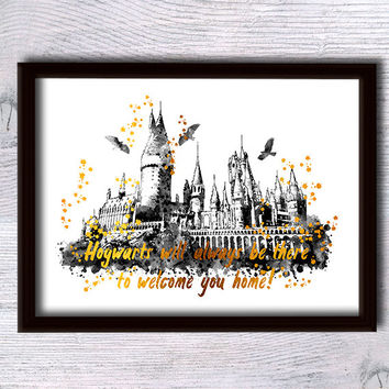 Harry Potter poster Hogwarts castle real foil print Harry Potter Hogwarts decor Home decoration Kids room wall art Nursery room decor G111