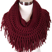 Cozy Fringe Infinity Scarf in Red
