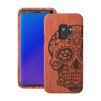 100% Natural Wood Case For Samsung Galaxy S9 Cover Real Wooden Walnut Rosewood Bamboo Phone Cases for Samsung Galaxy S9 Plus S9+