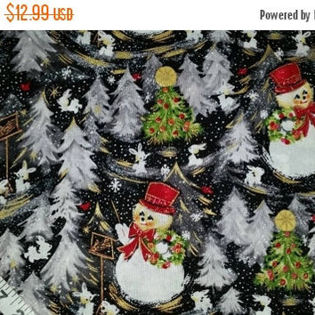 Christmas fabric with snowmen snowman bunny rabbit elegant cotton print gold highlights quilt sewing material to sew BTY crafting