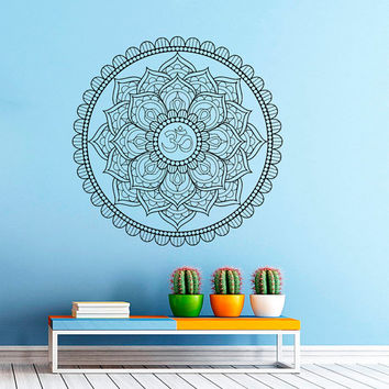 Wall Decal Vinyl Sticker Decals Art Home Decor Mural Mandala Ornament Indidan Geometric Moroccan Pattern Yoga Namaste Flower Om Bedroom AN23