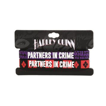 Licensed cool DC  Batman Joker & Harley Quinn Partners In Crime HA Rubber Bracelet Set