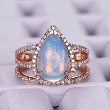 Pear-shaped African Opal Engagement ring set/14k rose gold diamond band/8x12mm Pear cut/Halo Stackable/Bridal Wedding ring/Birthstone Gift