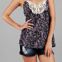 Southern Belle's Paisley & Lace Crotchet Top