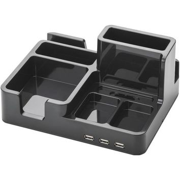 On My Desk ART79001 3-Port USB 2.0 Bay Area Desktop Organizer (Black)