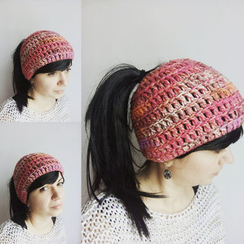 Pink Messy Bun Hat - Pastel Ponytail Bun Beanie - Ponytail Hat - Bun Hat Women - Open Top Hat - Pastel Crochet Hat - Girl Bun Hat Pink Gift