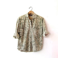 Vintage floral shirt. Tropical print shirt. Button up safari shirt. Beige + sage shirt. Minimalist resort wear top.