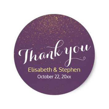 Chic Purple Gold Glitter Sparkle Wedding Thank You Classic Round Sticker