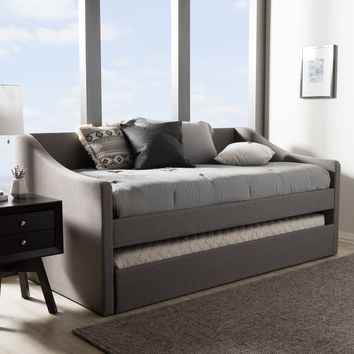 Baxton Studio Barnstorm Modern and Contemporary Grey Fabric Upholstered Daybed with Guest Trundle Bed Set of 1