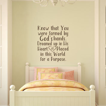 Know That You Were Formed In God's Hands Vinyl Wall Decal Quote Nursery Decor Child Of God Wall Decals Stickers Baby Kids Children Room Q302