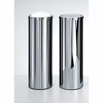 DW 1024 Round Trash Can Tall Stainless Steel Wastebasket W/ Swing Lid. Polished / Matte Finish
