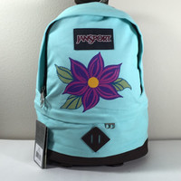 JanSport Backpack in Aqua with Hand Painted Purple Flower