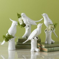 Porcelain Bird Vases - Set of 4