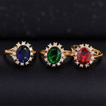 Vintage Finger Ring Gold Filled Cubic Zircon Ring Unique Style Wedding Ring Jewelry For Women