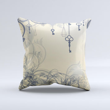 Vintage Hanging Clocks and Keys  Ink-Fuzed Decorative Throw Pillow