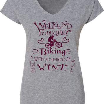 Bicycle T-Shirt for Women-Weekend Forecast-Chance of Wine-Mountain Bike T-shirt in Heather Grey