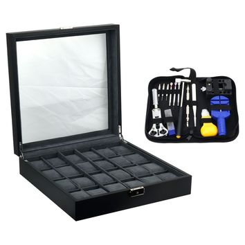 Felji 24-Slot Mens XL Watch Box Leather Display Case Organizer Black and Watch Repair Tool Kit with Case