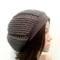 Reversible Ridged Slouch Beanie - Charcoal Gray - Made to Order