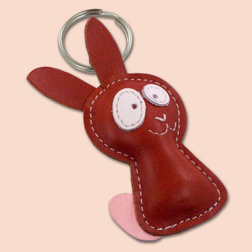 Cute little rabbit leather animal keychain by snis on Etsy